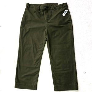Wide leg crop chino army green Old Navy NWT 16